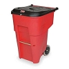 65 GAL. Red Rolling Can with Locking Lid